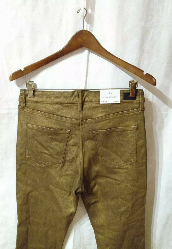 WOMEN'S REGAL STRAIGHT ANKLE 5 POCKETED DENIM BRONZE BROWN SIZE 8