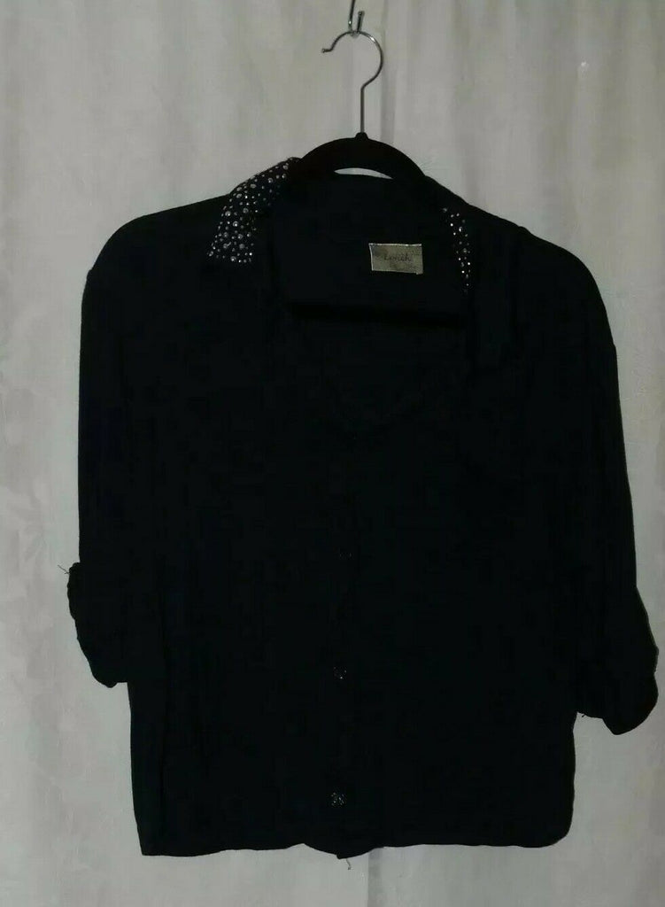 Lavish Women's Open Front Blouse Jeweled Collar Navy Blue Large