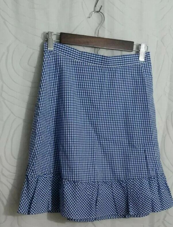The Limited Womens Petite Flutter Hem Gingham Short Skirt OP MSRP $69 Blue/White