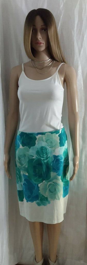 New York and Company Stretch Women's Rose Print Skirt Multicolor Casual Size 4