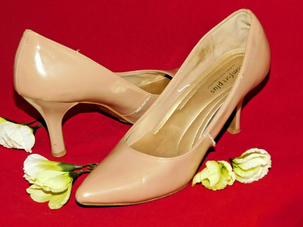 Taupe High Heels 6.5W Comfort Plus by Predictions Patent Faux Leather Well Worn