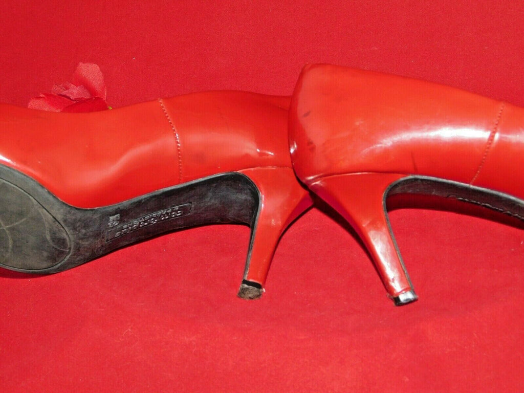 Red Mid Heels 6.5W Comfort Plus by Predictions Patent Faux Leather Well Worn