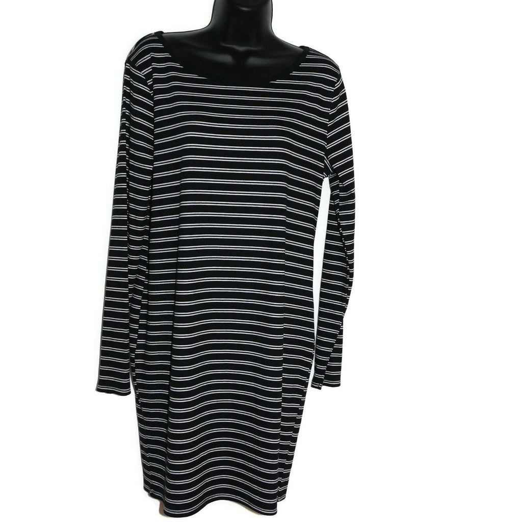 Wild Fable Women's Striped Long Sleeve Round Neck Knit Mini Dress Large BLK/WHT