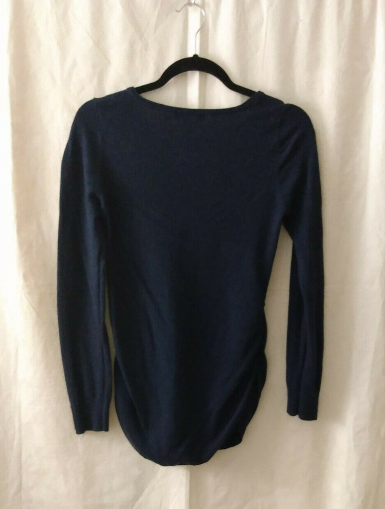 Motherhood Maternity Women's Long Sleeve Ruched Sides Pullon Top V-Neck Blue Sm