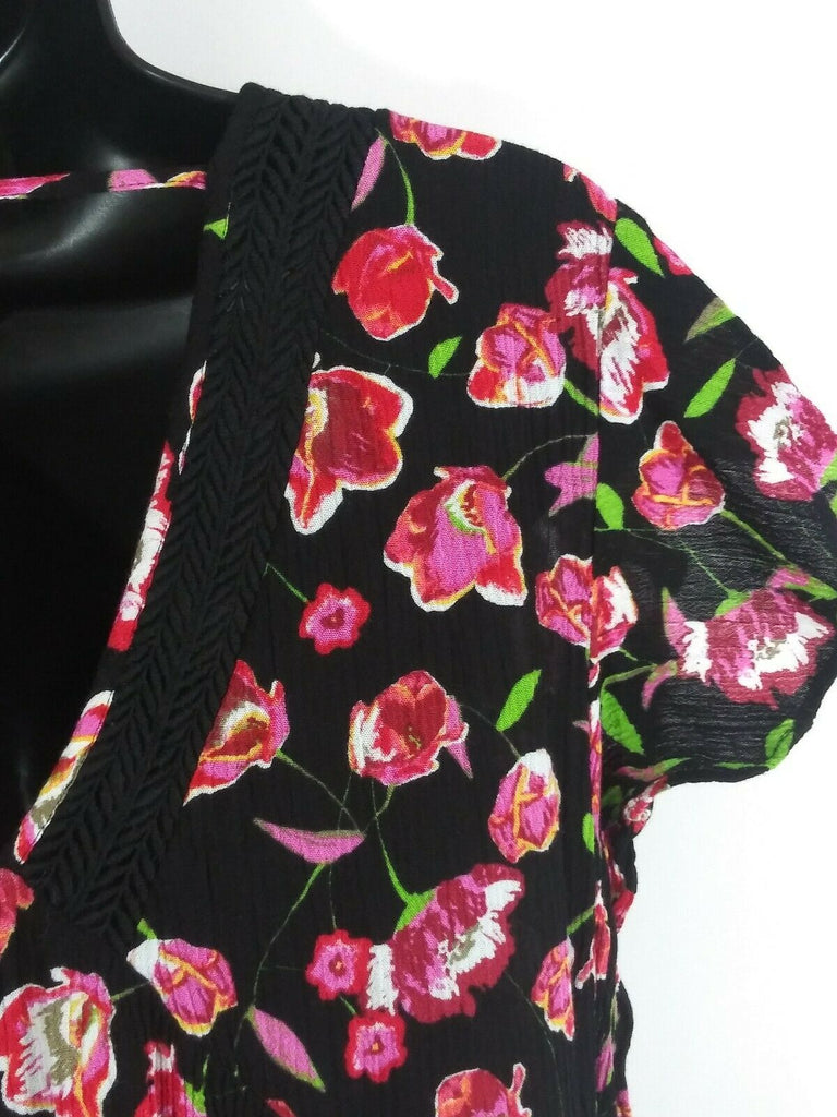 DR2 Women's V-Neck Floral Print Gauze Blouse Small Black