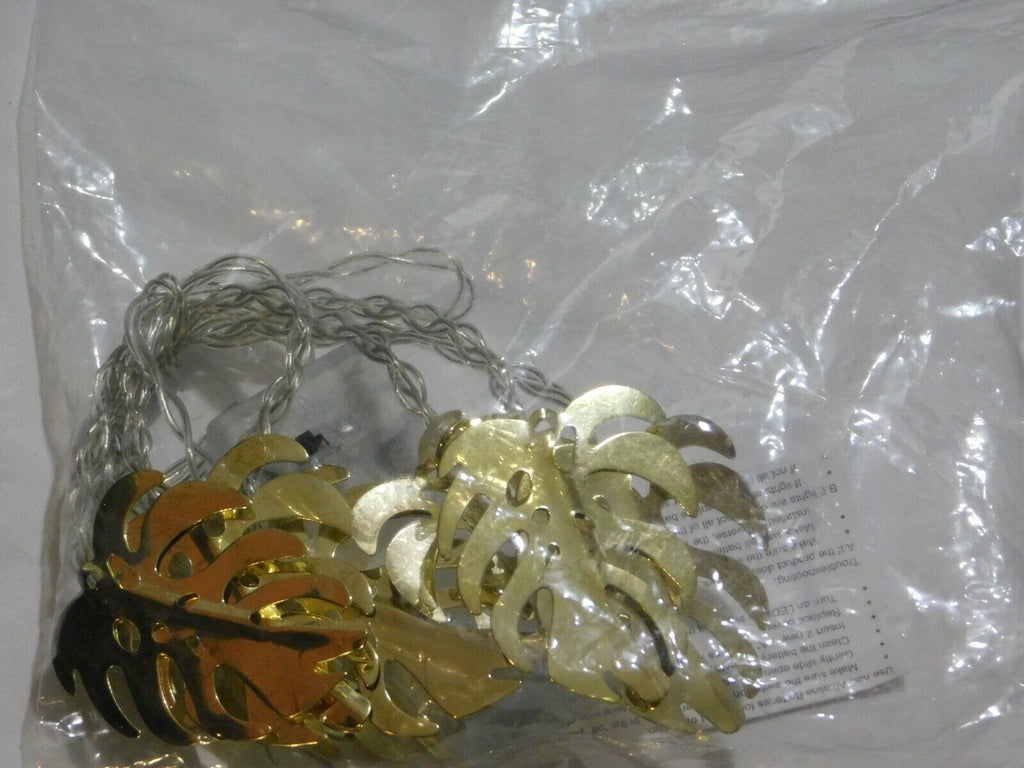 Decorative String Lights Gold Leafs 8 Warm White LED Battery Operated Lot Of 3