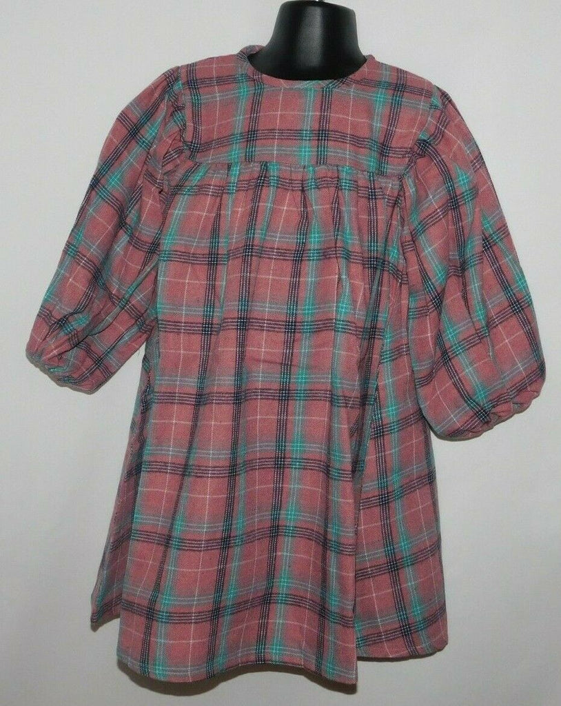Sense Fit Kids Girls Baby Doll Long Sleeve Checkered Plaid Dress Size 3-8 Years