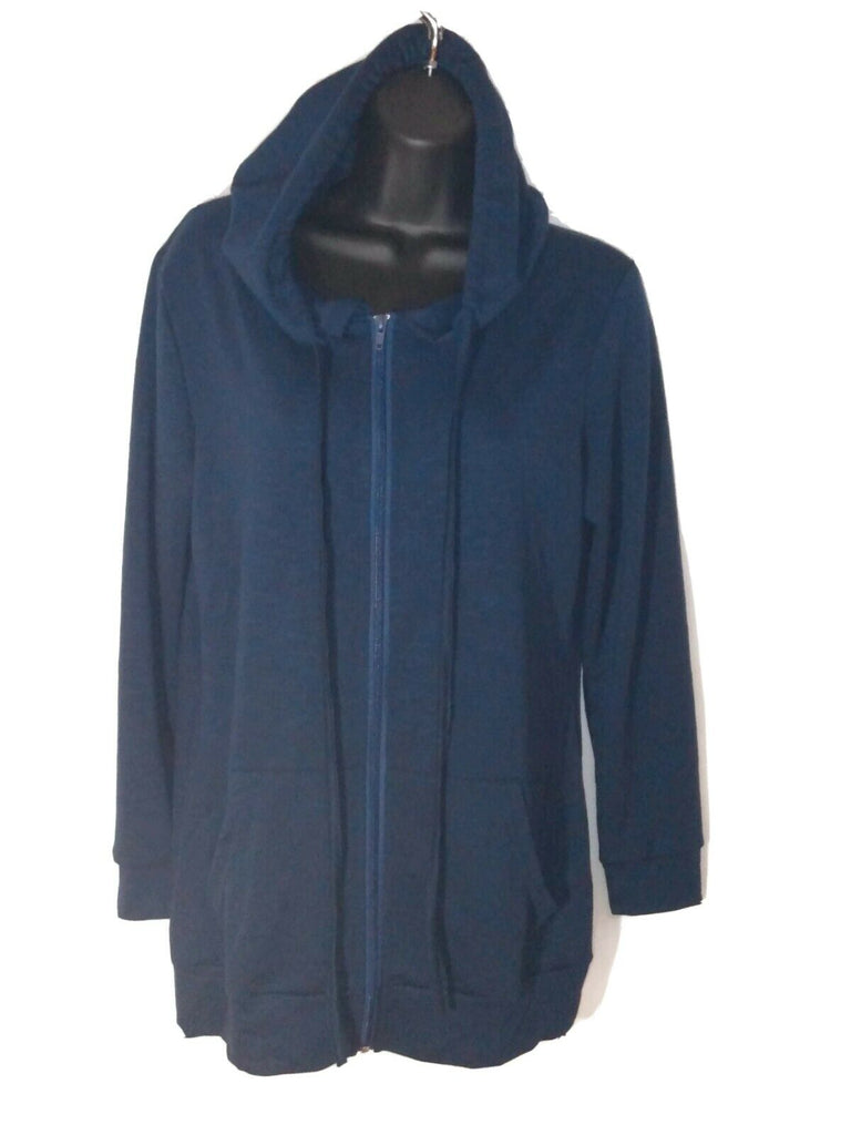 Leo Rosi Women's Hooded Zipper Front Cardigan Navy Blue Medium