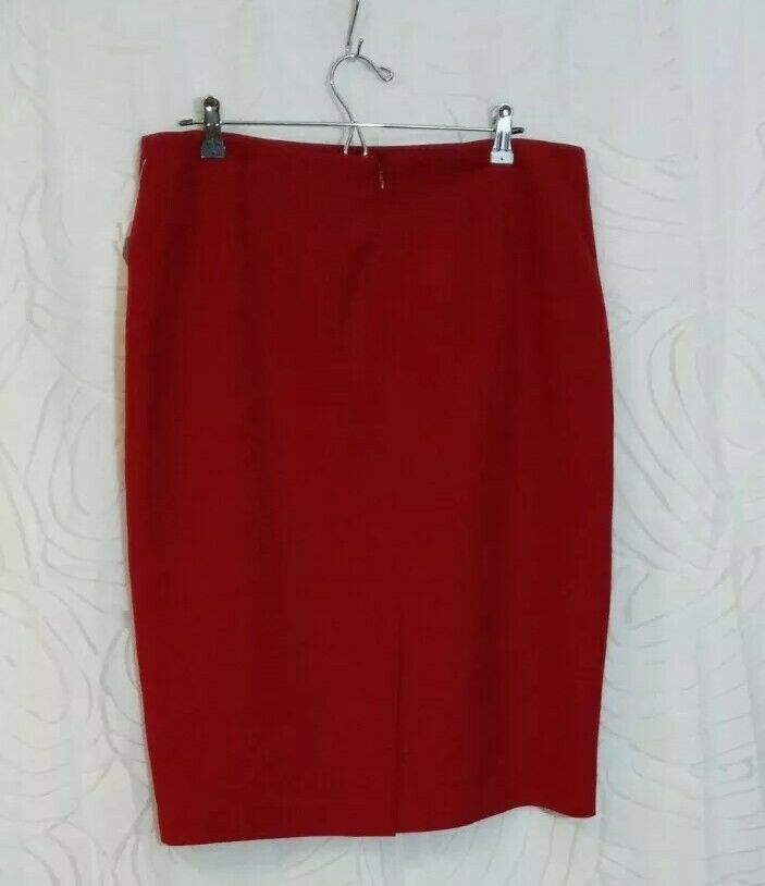Kasper Women's Midi Stretch Pencil Skirt Sz 12 Fire Red MSRP $69 Business Skirt
