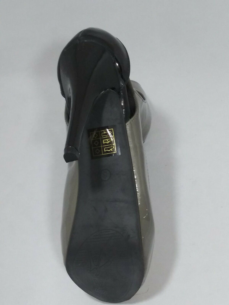 Shoes Of Soul Womens Open Toe Ultra High Pumps Gray/Black Sz 6 Style # A 300-2