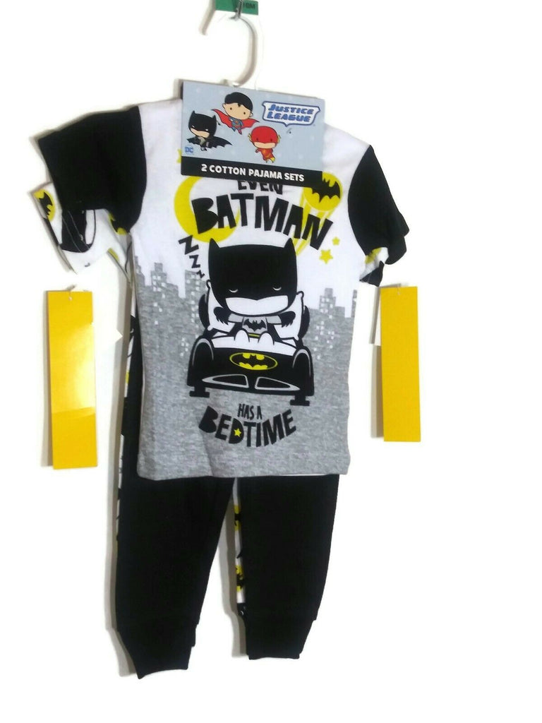 Justice LeagueToddler Boys' 4Pc- 2 Sets Cotton Pajama Set BATMAN DC Comics 18Mth - STEPSHEY