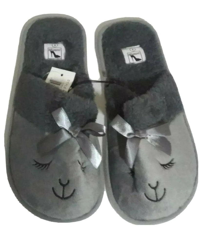 Women Bunny Face Bow Plush Open Back Slippers Small Gray on Gray w White Bottom
