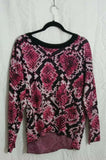D K N Y Women's Python-Print Sweater Long Sleeve Large Multicolor MSRP $89