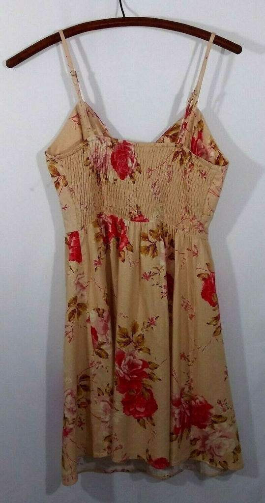 Sweet Rain Women's Floral Print Tie Button Fit & Flare Gathered Back Dress M