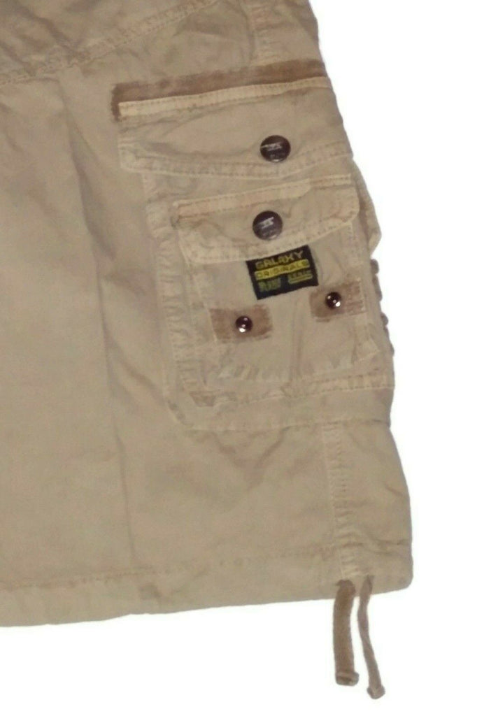 Galaxy By Harvic Men's Cargo Belted Shorts Distressed Size 32 Khaki