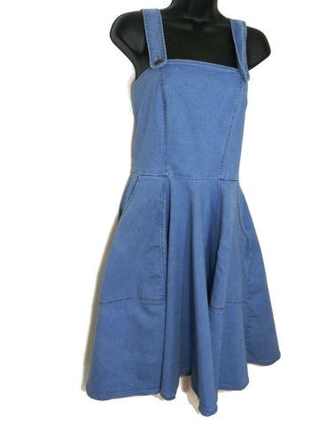 Bright & Beautiful Women's Strappy Denim Flare Dress Light Blue UK-8/US-6