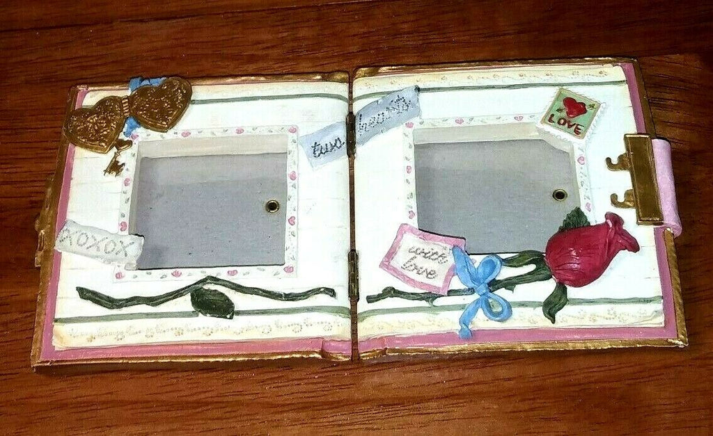 Double Hinged Planner Like Two Hearts XOXOX With Love Rose Picture Frame Home
