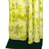 Women's Indian Clothing Set Shawl Blouse Skirt Green With Silver Designs Sz 42