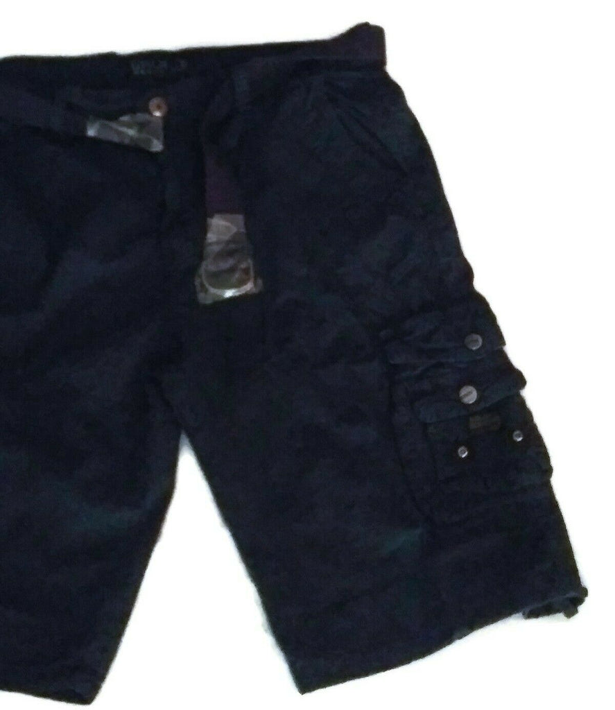 Galaxy By Harvic Men's Cargo Belted Distressed Shorts Navy Blue/Khaki
