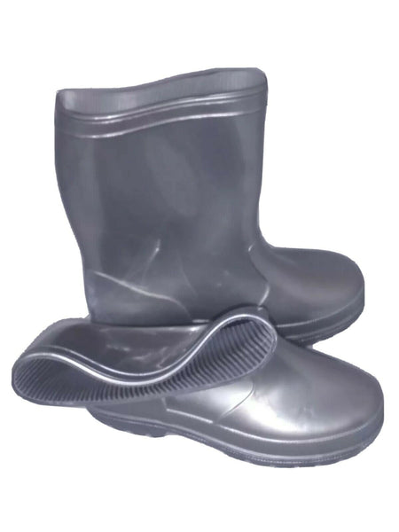 Shoes Of Soul Girls' Kids Children Rubber Rain Boots Size US- 10 Gray