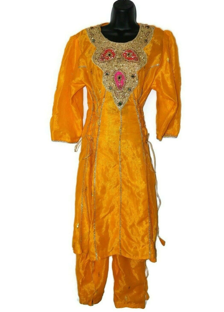 Women's Indian Clothing Set Dress W/ Elastic Waist Pants Yellow Silver Gold #50