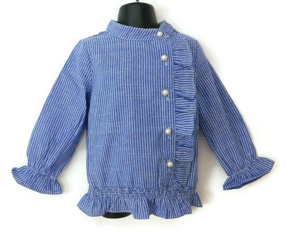 Sense Fit Kids Girls Dress Shirt Stripe Faux Pearls High Collar Ruffles Blue/WHT