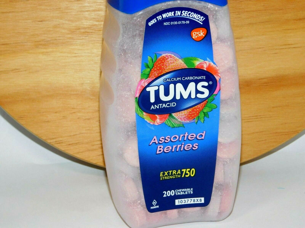 Tums Assorted Berries Antacid Chewable Tablets 200 Count X-Strength Exp. 12/2024