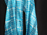 Unbranded Women's Scarf 60 x 13 Inches Geometric Print Ocean Blue/White Abstract