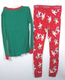 Cat & Jack Boys' 2 Piece Snow Tight Fit Long Sleeve Pajama Set Size 8 Green/Red