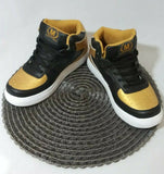 Crown Kicks Women's High Top Sneakers Black/Gold/White - STEPSHEY