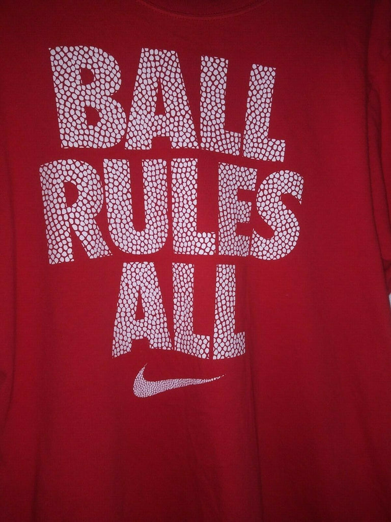 Nike-Red - Men's Ball Rules All 100% Cotton T-Shirt Size Medium