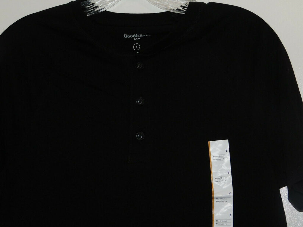 Goodfellow & Company Men's T-Shirt Pullover Partial Button Front Small Black