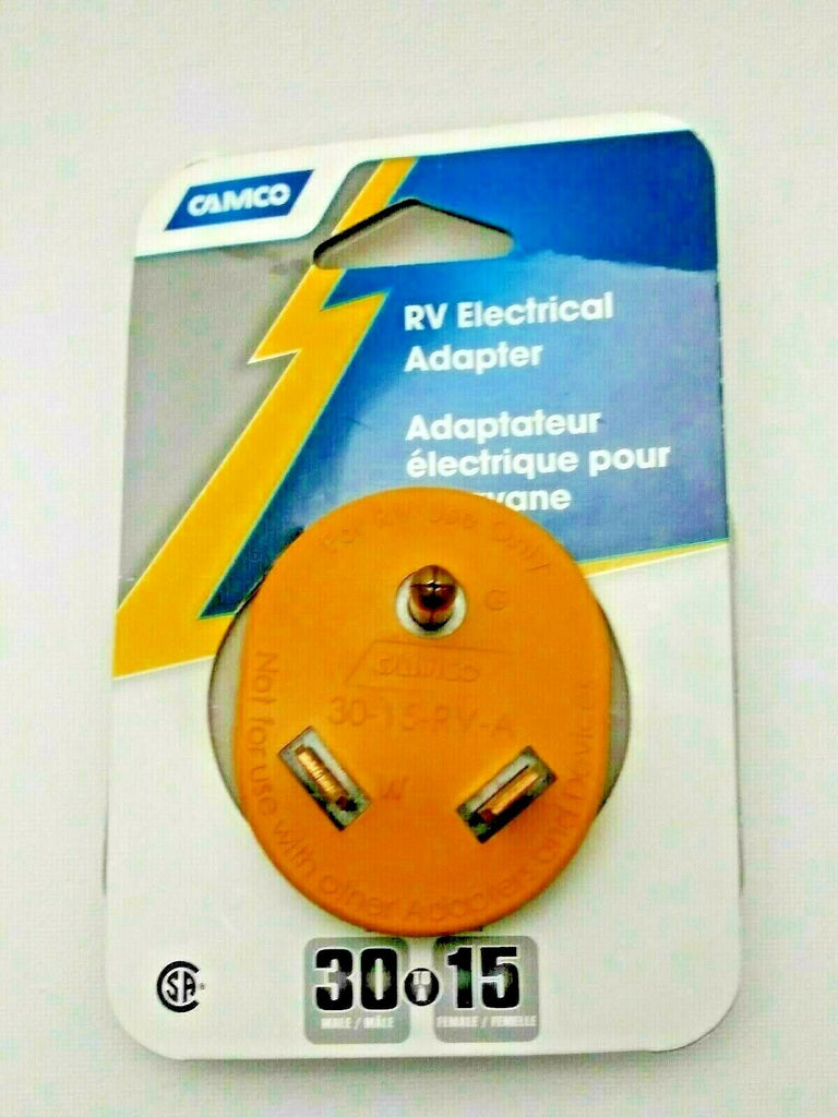 Camco 30 AMP Male/15 AMP Female Electrical Power Grip Adapter 55233