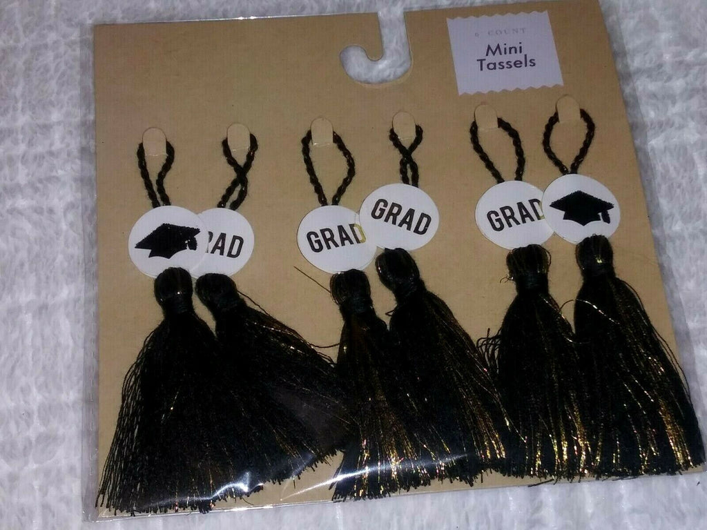 6 Count Mini Tassels Gold GRAD Letters & Black With Gold Caps Party Memories