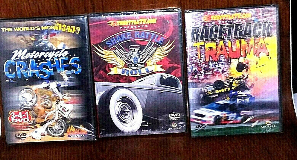 Lot of 3 Motorcycle Stunts Motorsports DVD + Car Shows Full Throttle Videos