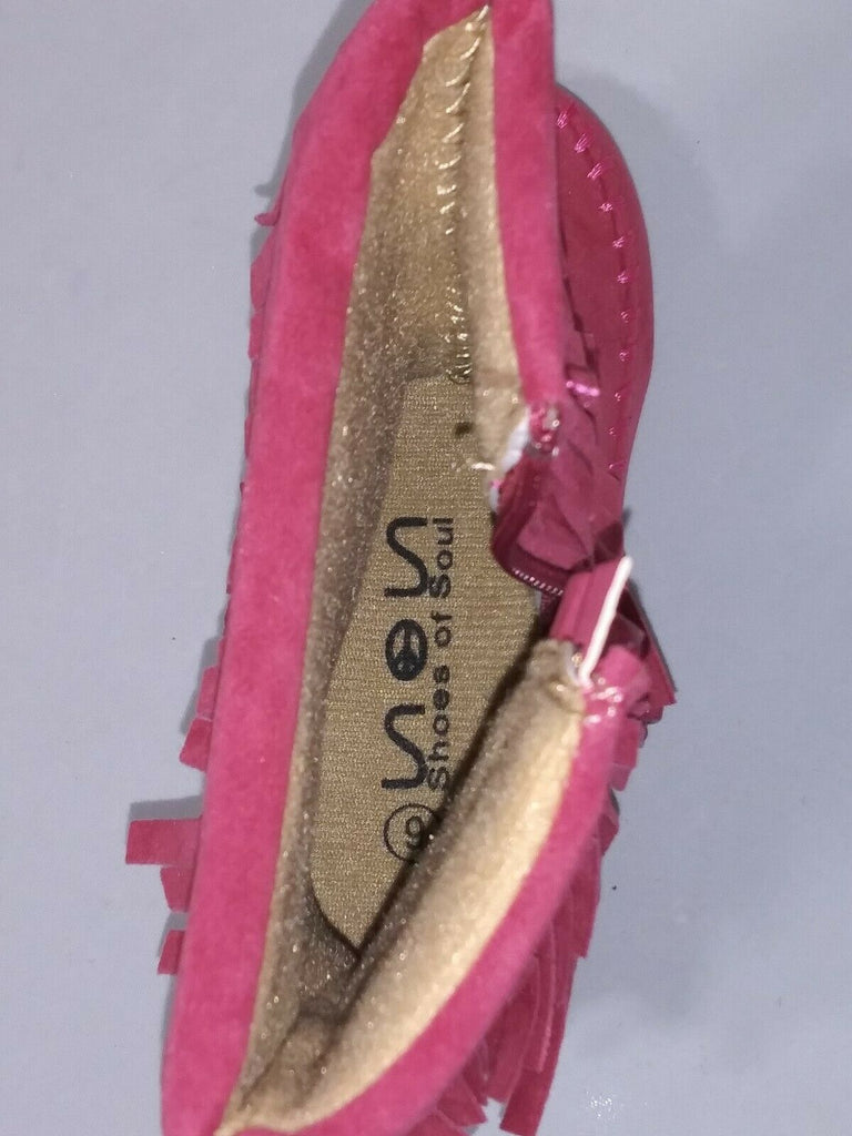 Shoes of Soul Girls Mid Calf Faux Suede Moccasin Flat 3 Layer Fringe US-6 Pink