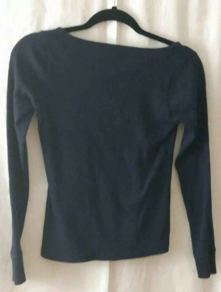 Banana Republic Women's Scoop Neck Long Sleeve Top Navy Blue XS