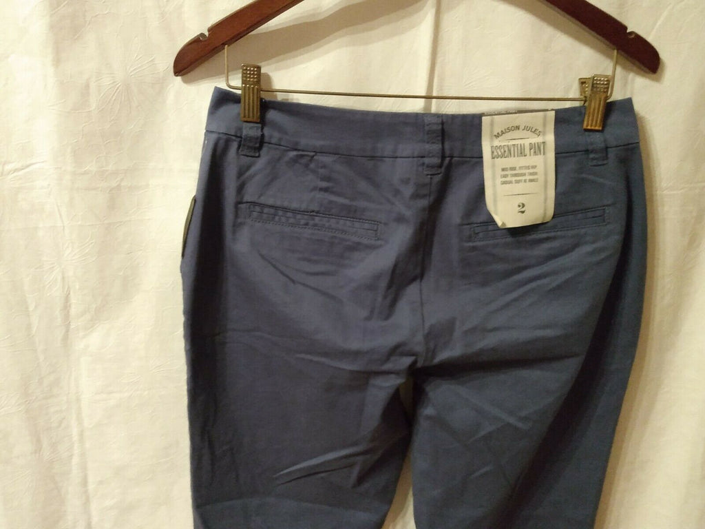 Maison Jules Womens Essential Straight Leg Pants Indigo Washed Size 2