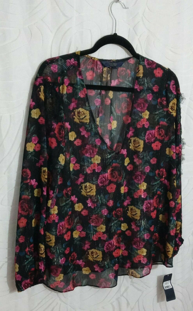 Rachel Rachel Roy Women's Eve Sheer Floral-Print Lace-Trim Top Long Sleeves XXL