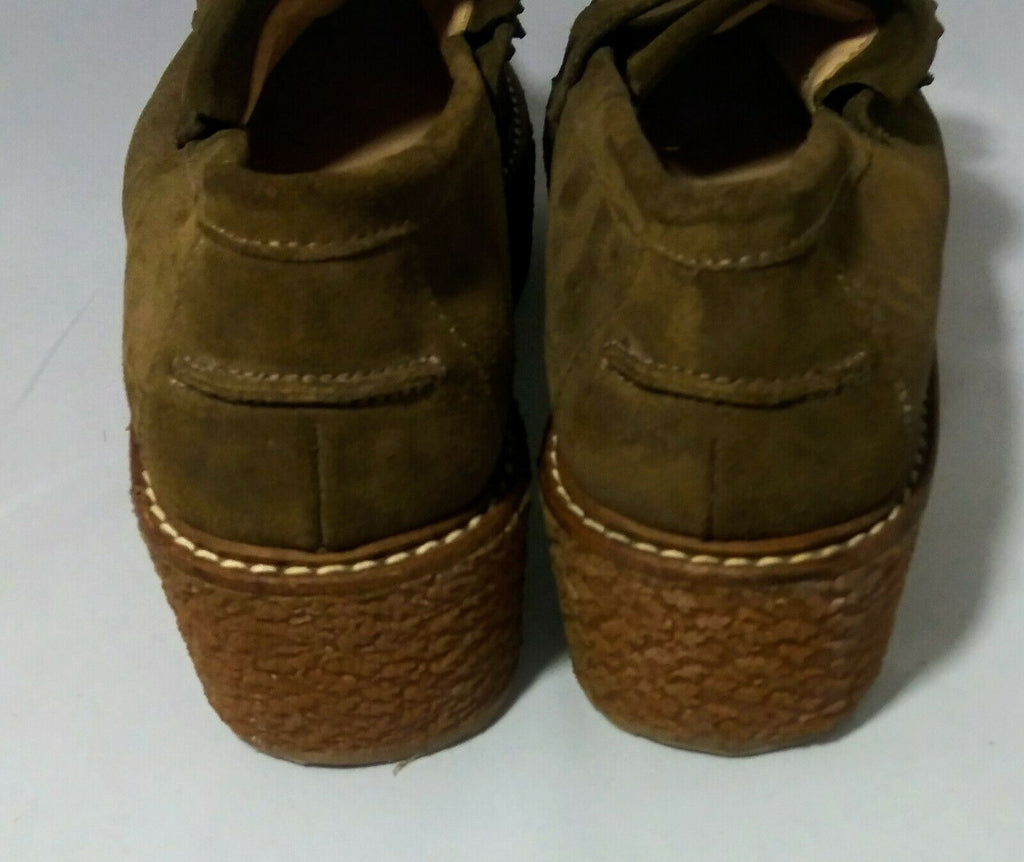 Mango Women's Premium Platform Suede Loafers Brown Size 41