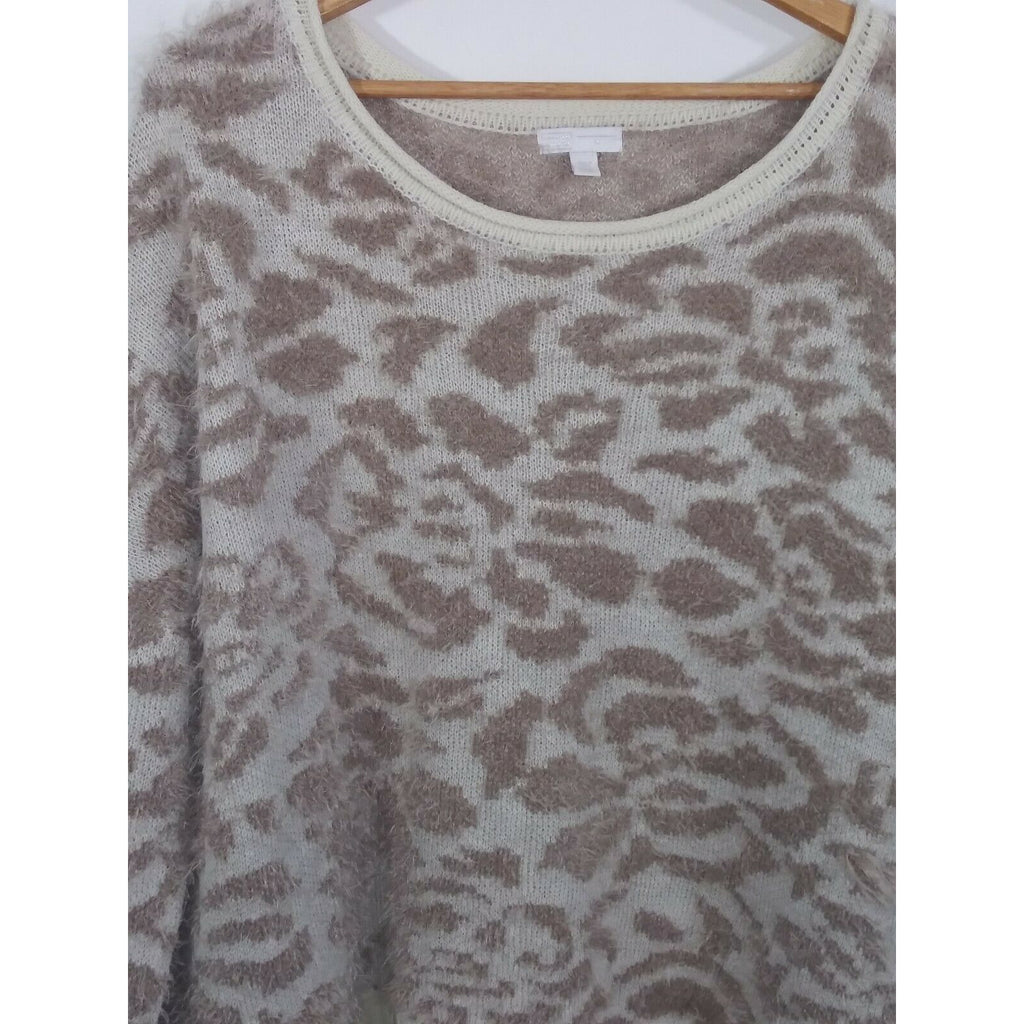 14th & Union Women's Print Fuzzy Pullover Sweater XL Cream & Brown