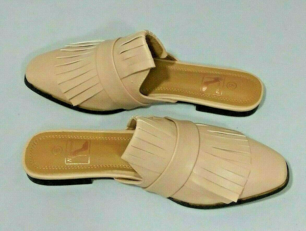 N Demand Womens Fringes Low Heel Mules Size 6 Mink Color Style # LA249-1