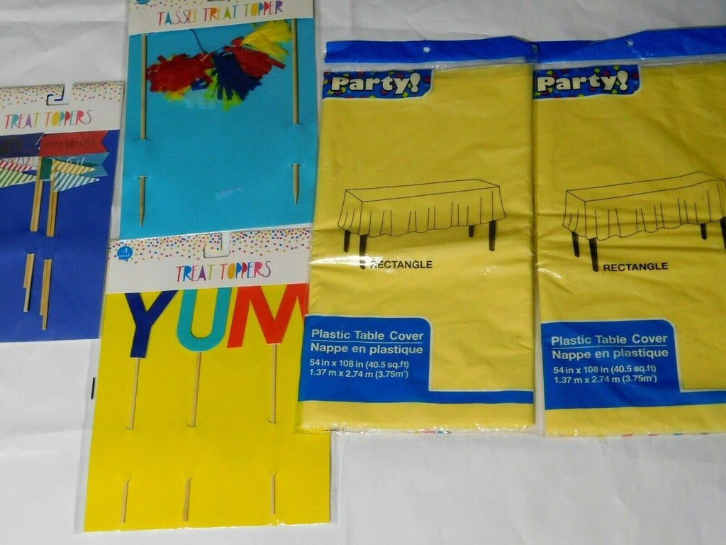 Party Decorations 14 Pieces YUM Party Treat & Tassel Toppers/ Yellow Tablecloths