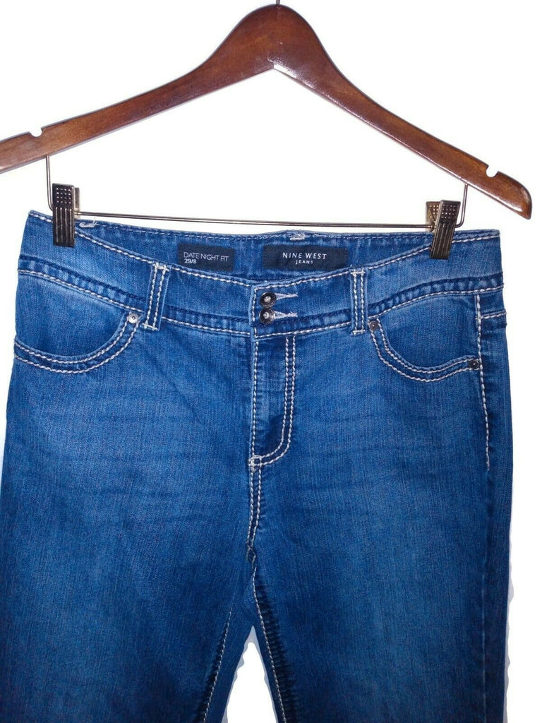 Nine West Date Night Fit Capri Blue Jeans Size 29/8 Embroidered Back Pockets