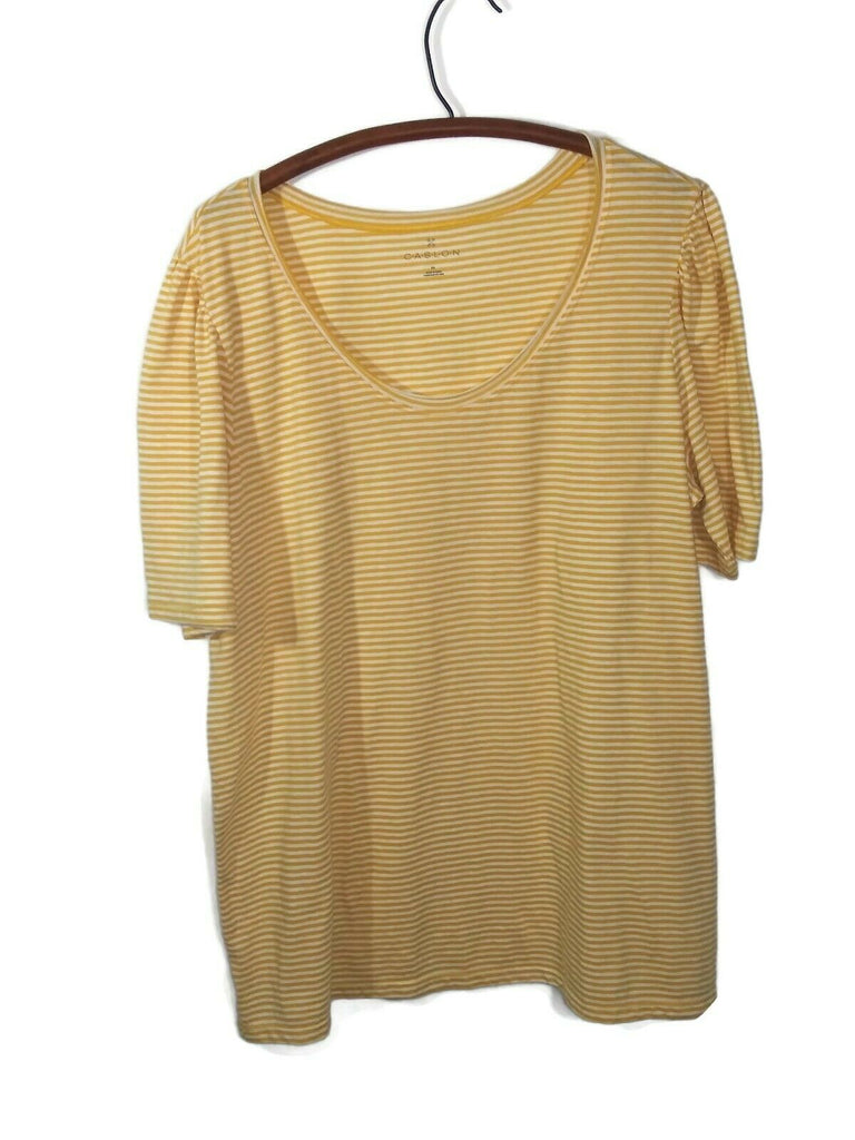 Caslon Women Stripe Short Sleeve T-shirt Plus 3X Yellow & White