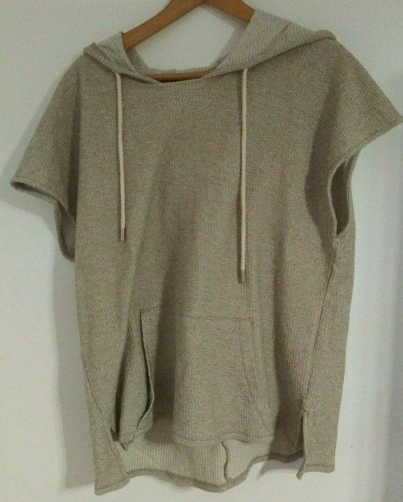 Zara Men Hooded Sleeveless  Sweatshirt with 2 Front Pockets Small Knitted