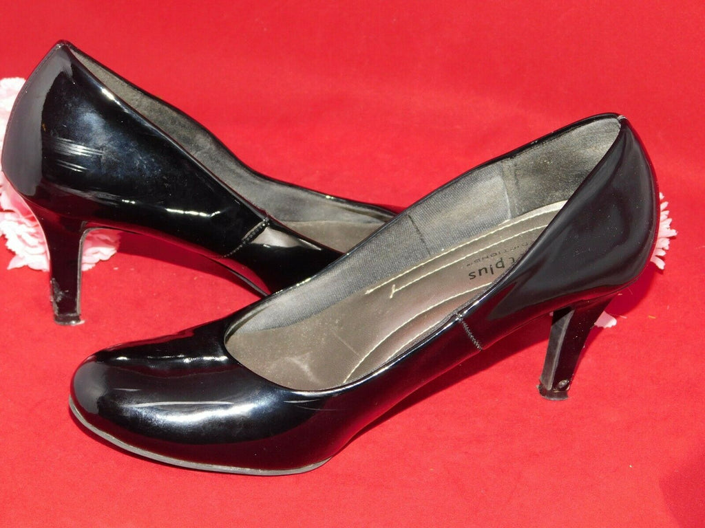Black Mid Heels 6.5W Comfort Plus by Predictions Patent Faux Leather Well Worn