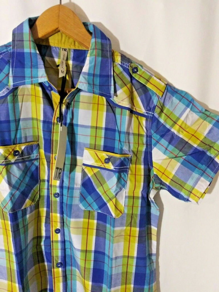 True Rock Fashion Men's Plaid Short Sleeve Button Down Shirt Blue/Yellow Medium
