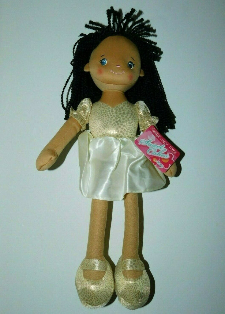 "Linzy Toys Sweet Cakes Addy Plush Gold Dress Brown Doll 18"" 3+ years"