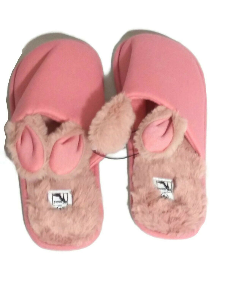 Women Bunny Ears Plush Open Back Slippers Small/Medium Pink on Pink White Bottom